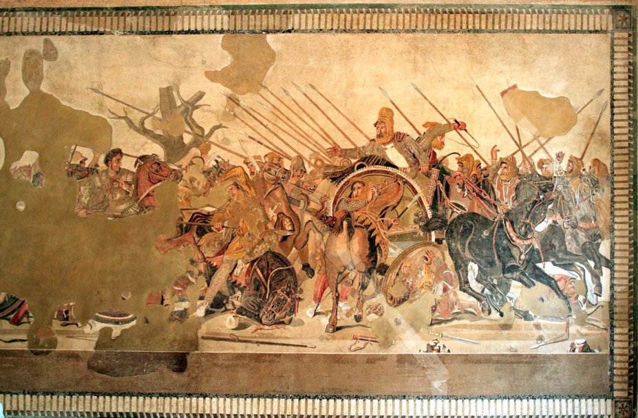 The alexander mosaic revealed for Battle of issus painting